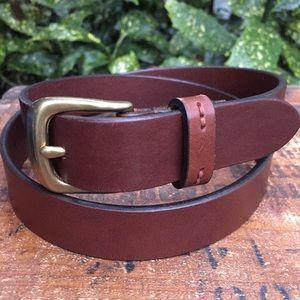 Eddie Bauer brown leather belt solid brass buckle